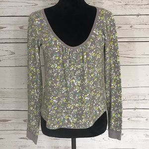 Anthropologie Damsel Gray Floral Thermal Shirt